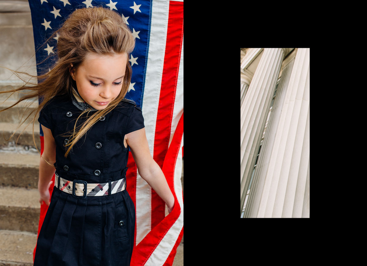 teslyn-american-flag-editorial-child-model-burberry-dress-marble-pillars