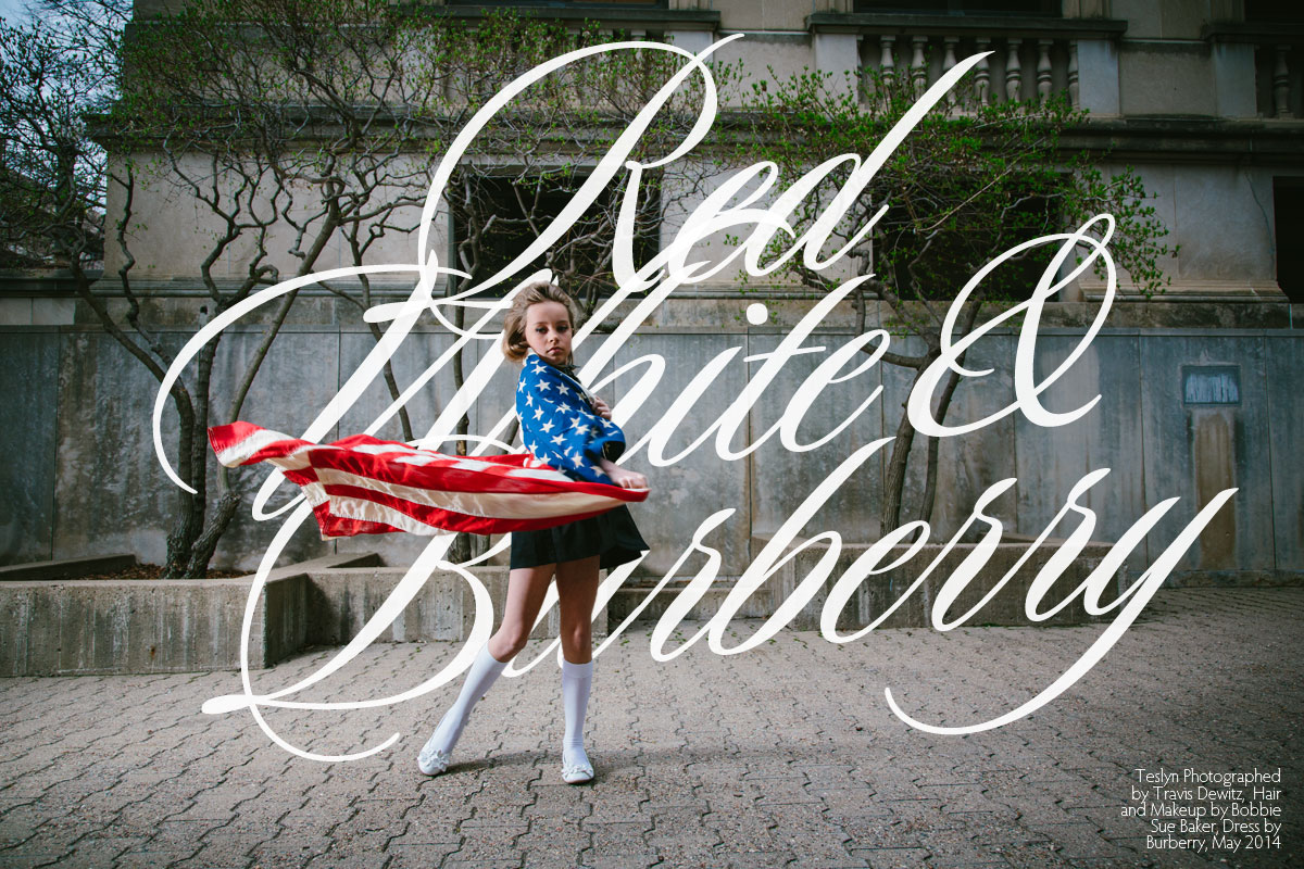 Editorial Child Model Teslyn Spins in Burberry Dress and American Flag - Red White and Burberry Photographer Travis Dewitz Hair and Makeup Bobbie Sue Baker
