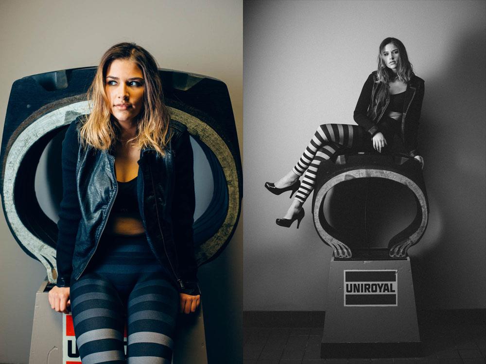 grace-striped-yoga-pants-victoria-secret-top-leather-jacket-uniroyal-tire-display-9665-9680-travis-dewitz